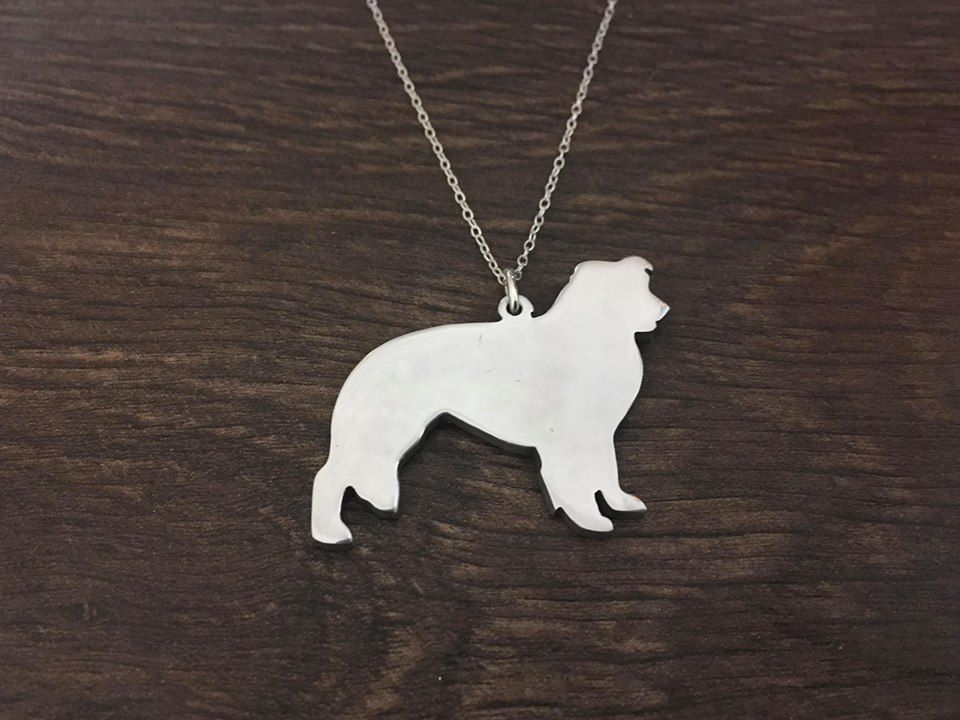 Border Collie dog pendant necklace sterling silver handmade