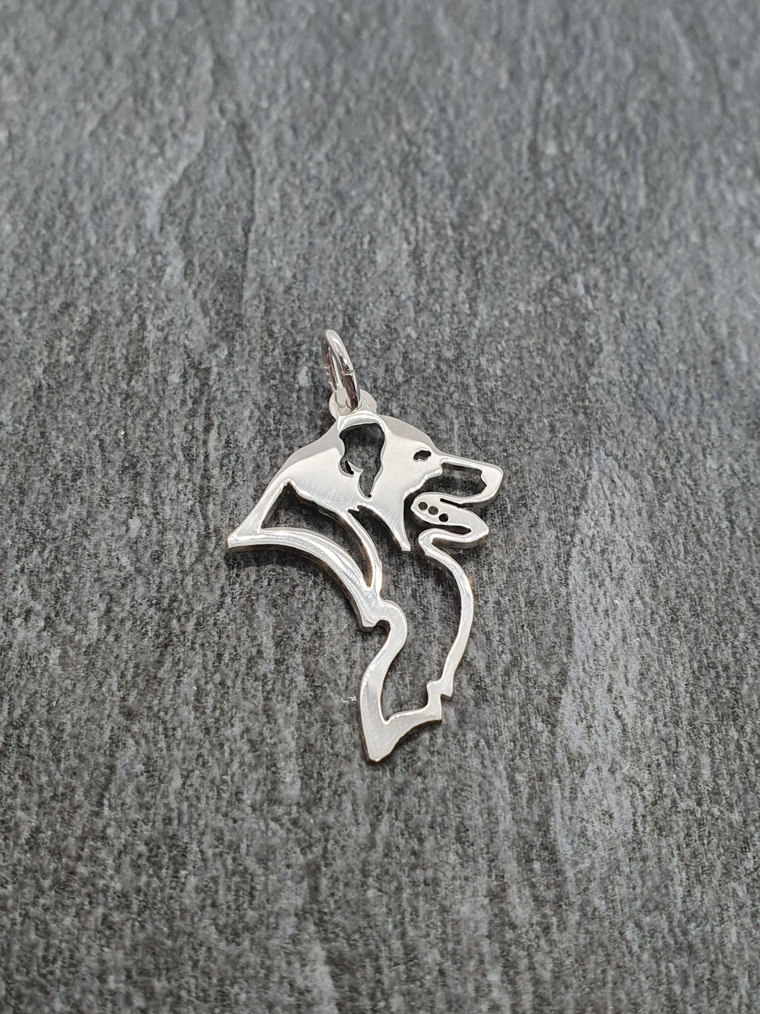 Border Collie profile pendant sterling silver handmade by saw piercing Caroline Howlett Design