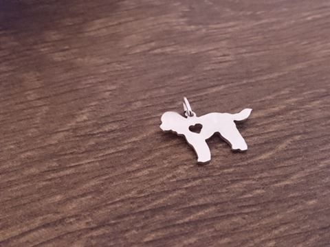 Cockerpoo with heart dog pendant sterling silver handmade by saw piercing Caroline Howlett Design