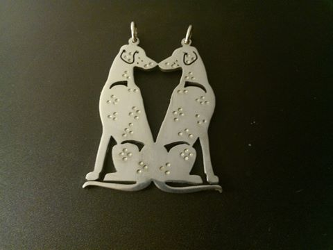 Dalmation double pendant sterling silver Handmade Design by Marianne Felix