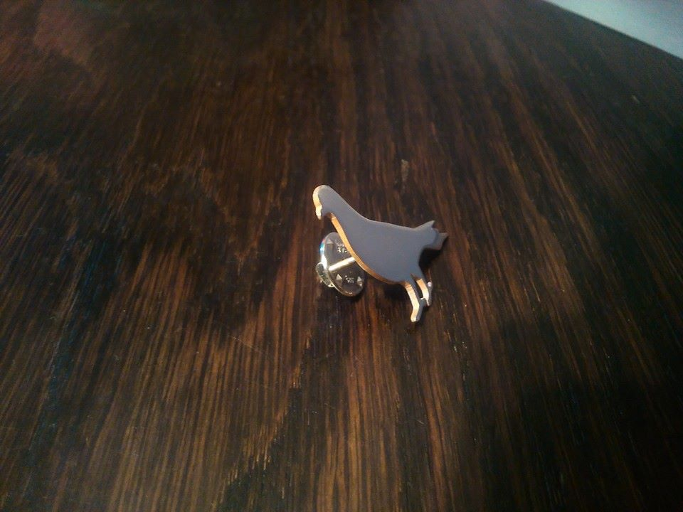Pigeon Lapel Pin Handmade in the UK by saw piercing