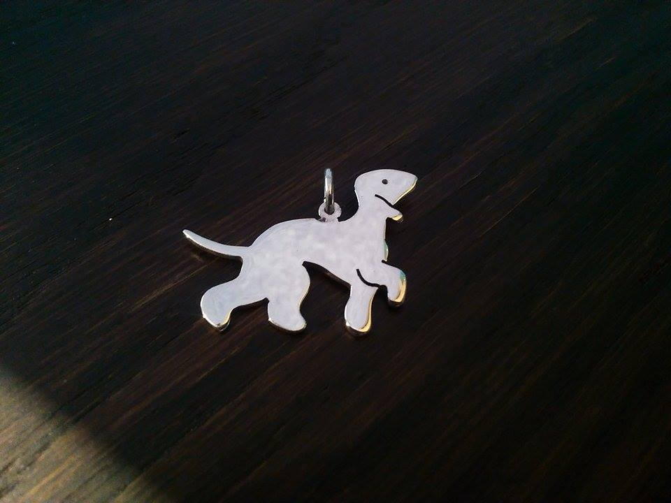 Bedlington terrier Charm silhouette solid sterling silver Handmade in the Uk (1)