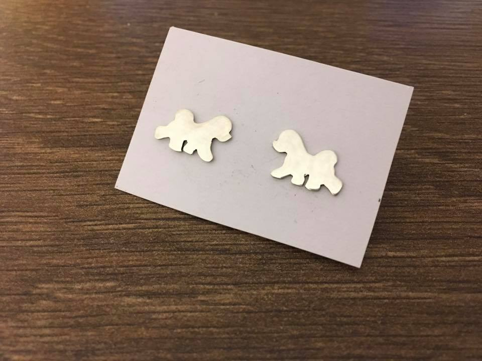 Bichon Trot earrings Handmade by saw piercing solid sterling silver