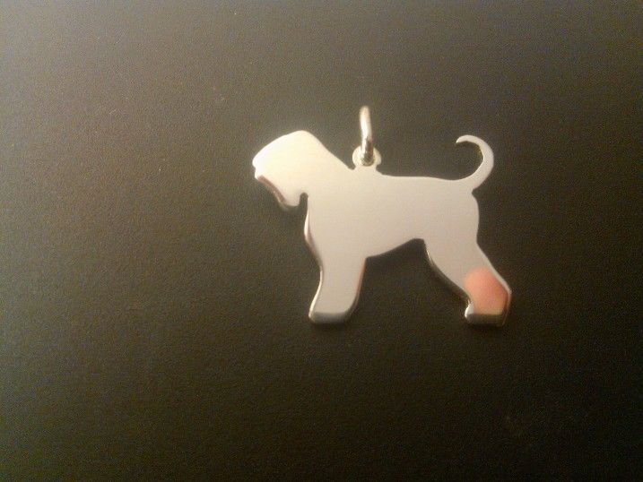 Black Russia Dog Charm silhouette solid sterling silver Handmade in the Uk