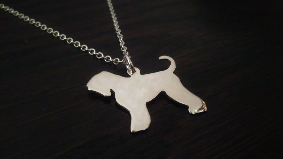 Black Russian Terrier pendant sterling silver handmade by saw piercing Caroline Howlett Design