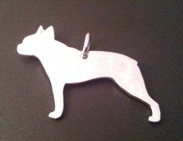boston terrier dog silhouette pendant sterling silver handmade by saw piercing