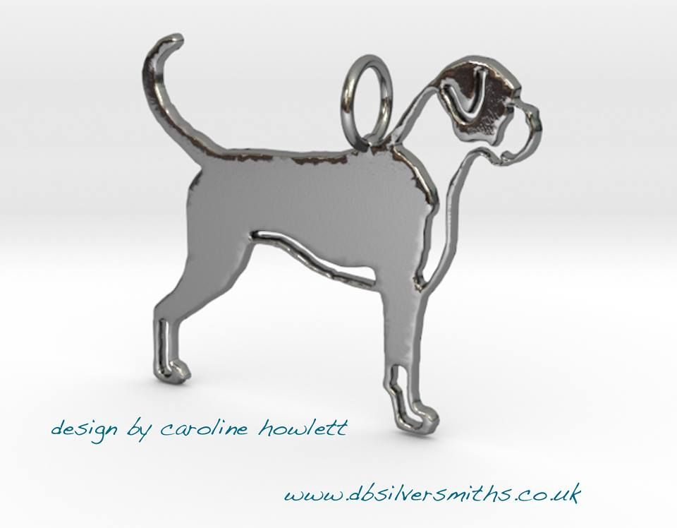 Boxer dog with markings  pendant sterling silver handmade by saw piercing Caroline Howlett Design