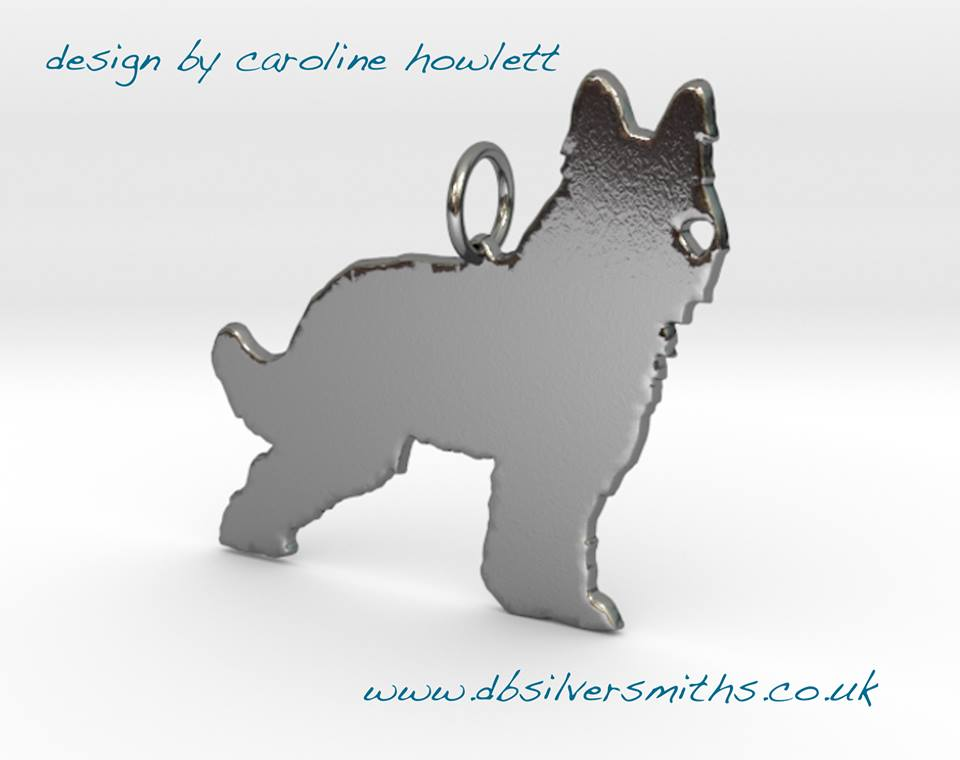 Briard Prick eared dog pendant sterling silver handmade by saw piercing Caroline Howlett Design (1)
