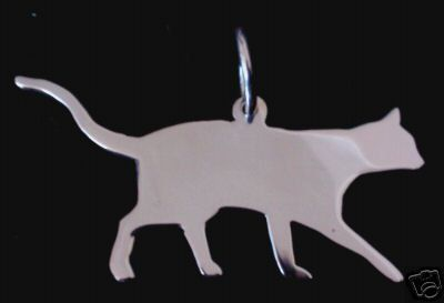Cat walking  silhouette pendant sterling silver handmade by saw piercing
