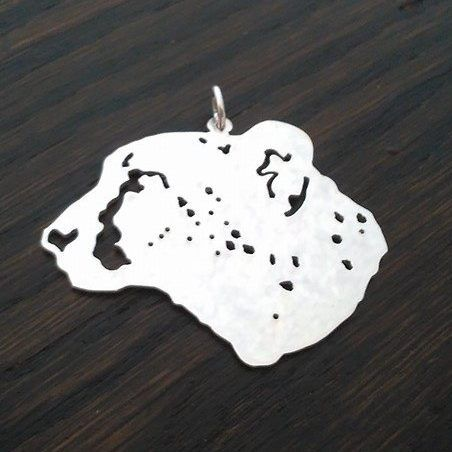 cheetah pendant sterling silver handmade by saw piercing Caroline Howlett Design