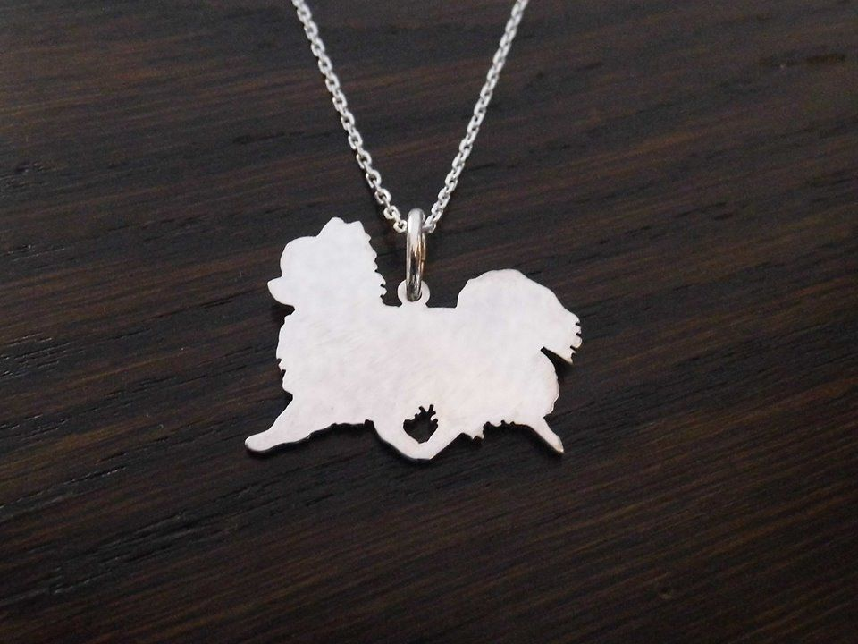 Chihuahua longhaired dog silhouette pendant sterling silver handmade by saw piercing Caroline Howlett Design