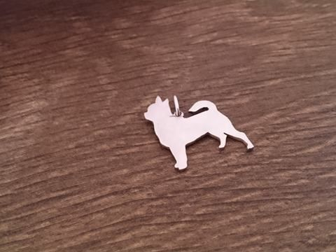 Chihuahua smooth dog silhouette pendant sterling silver handmade by saw piercing Caroline Howlett Design