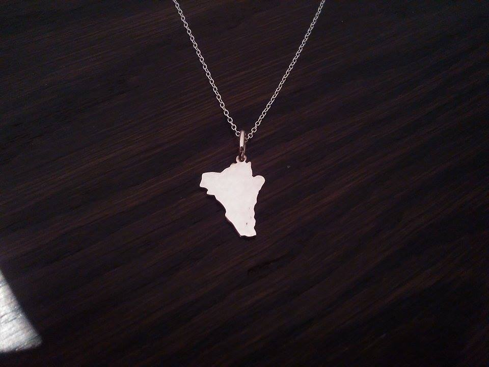 Chile country map silhouette pendant sterling silver handmade by saw piercing