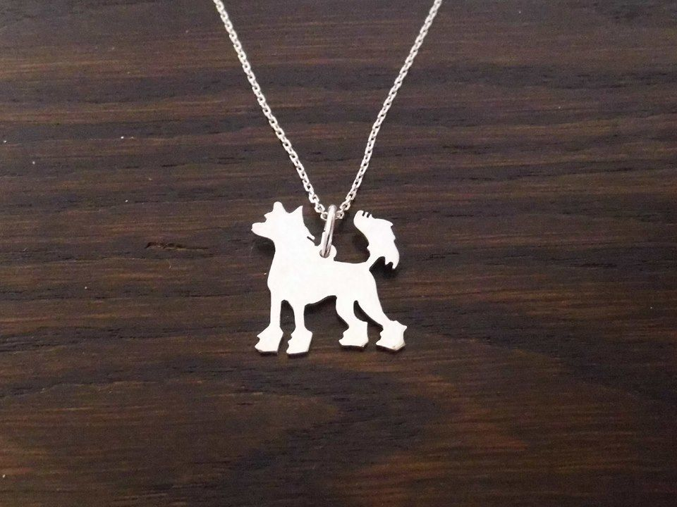 chinese crested dog pendant sterling silver handmade by saw piercing
