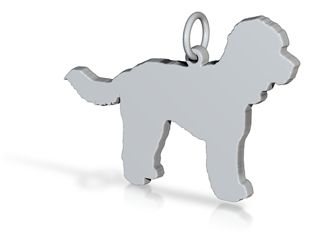 Cockerpoo dog Charm silhouette solid sterling silver