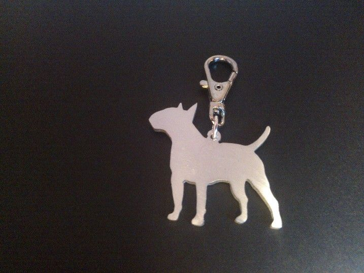 English Bull terrier keyring 4.5cm handmade by saw piercing