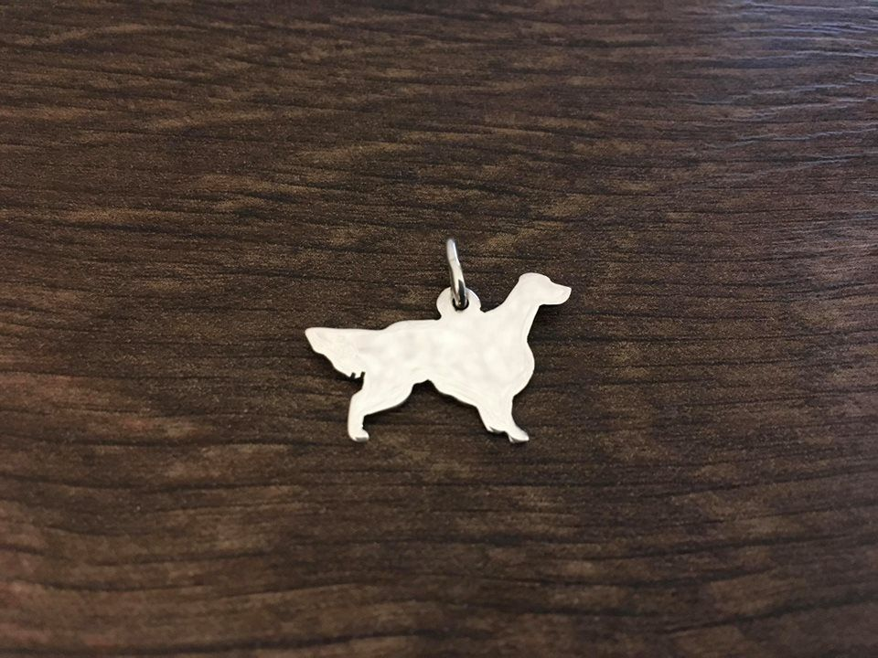 English Setter charm solid sterling silver Handmade in the Uk