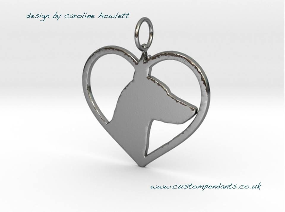 English Toy Terrier in heart pendant sterling silver handmade by saw piercing Caroline Howlett Design
