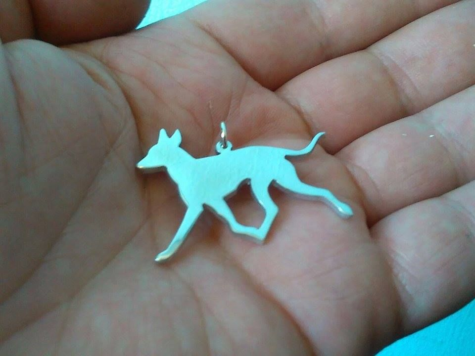 English Toy Terrier trot pendant sterling silver handmade by saw piercing Caroline Howlett Design