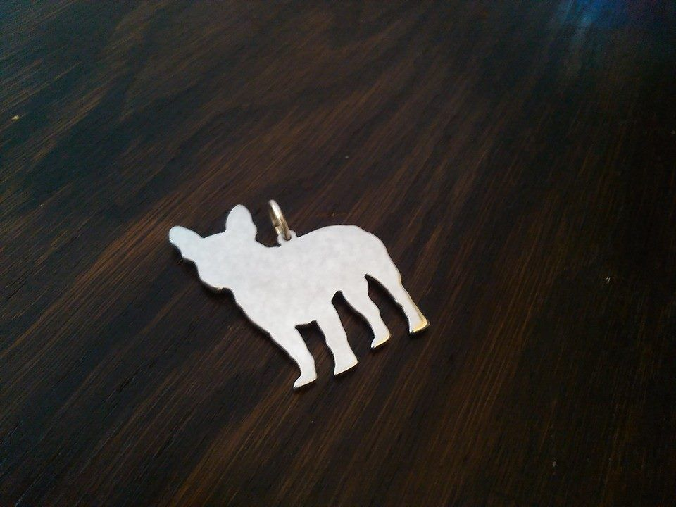 French Bulldog pendant sterling silver handmade by saw piercing Caroline Howlett Design