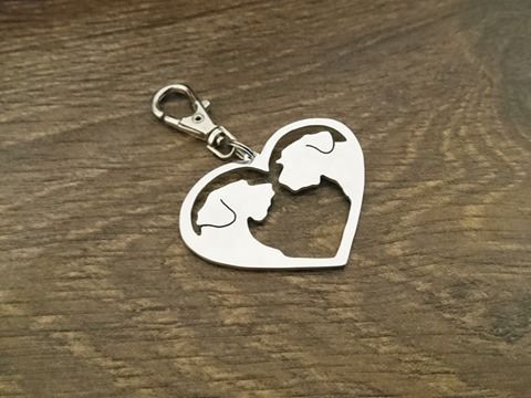 German wirehaired pointer Hard Aluminium 4.5cm Handcrafted made by saw piercing