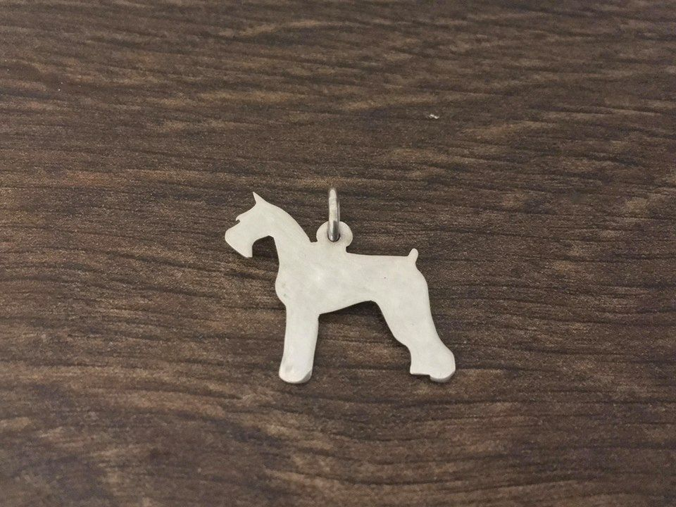 Giant Schnauzer Charm cropped and docked solid sterling silver Handmade in the Uk