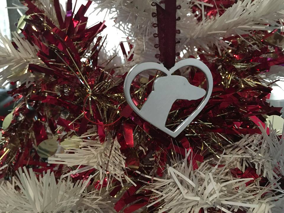 Christmas Heart.Greyhound In Your Heart Christmas Tree Decoration Brass Copper Or Aluminium