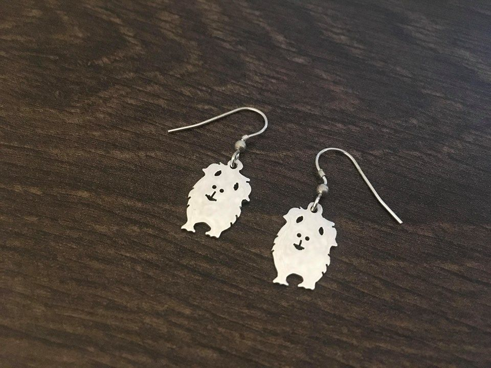 Guinea Pig Cavie  earrings Handmade by saw piercing solid sterling silver