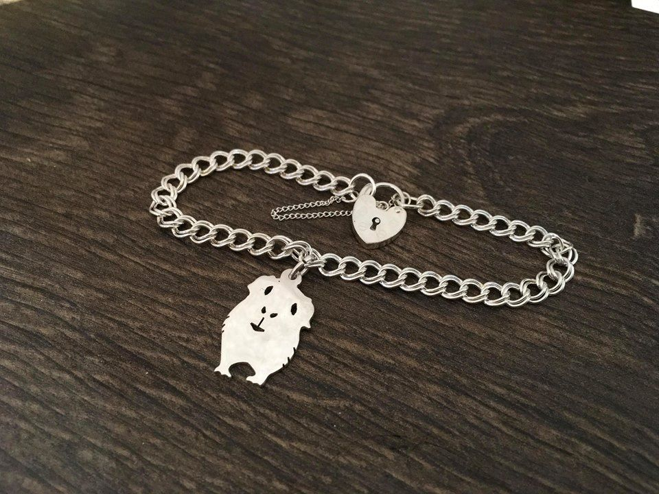 Guinea pig charm on a z curb bracelet solid sterling silver Handmade