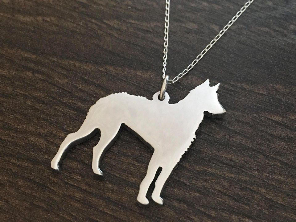 Ibizan Hound Wirehaired pendant necklace sterling silver handmade
