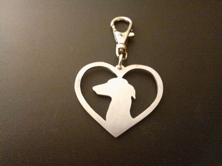 italian greyhound head in a heart keyring 4.5cm handmade by saw piercing