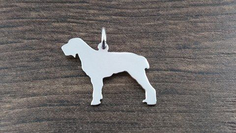 italian spinone dog silhouette pendant sterling silver handmade by saw piercing