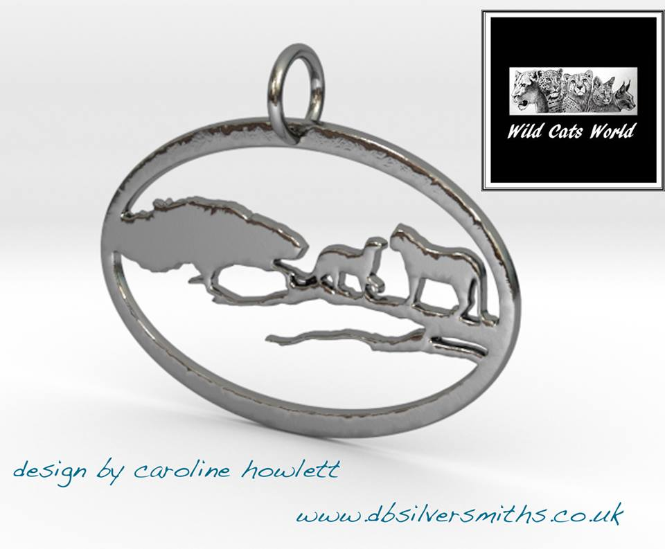 Leopards in a tree  pendant sterling silver handmade by saw piercing Wild Cats World