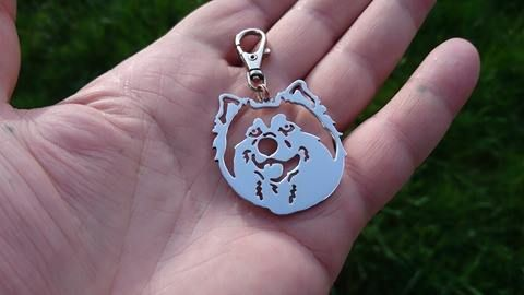 Malamute pierced dog head Keyring handmade by saw piercing Malamute matters