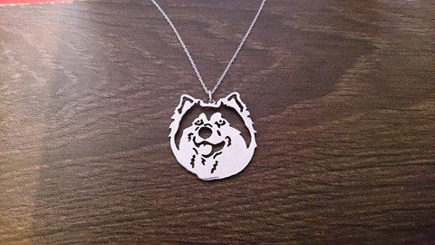 Malamute pierced dog head pendant sterling silver handmade by saw piercing Malamute matters