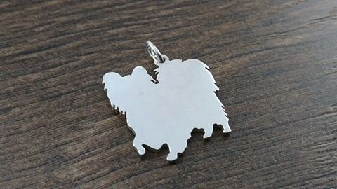 Papillon Charm silhouette solid sterling silver Handmade in the Uk