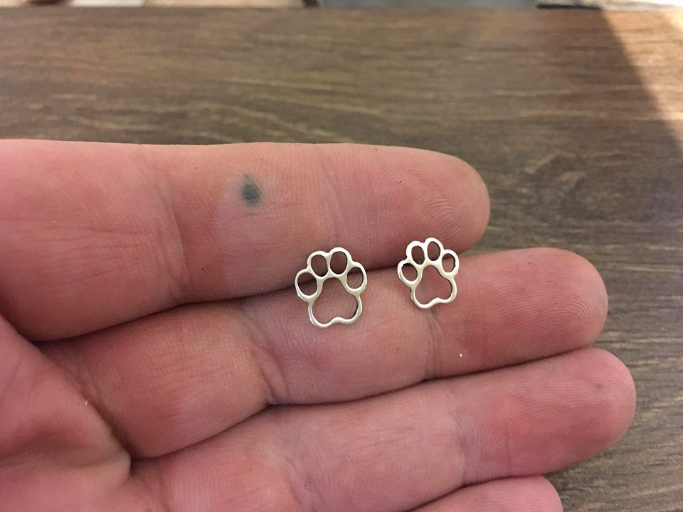 Paw earrings stud made by saw piercing sterling silver or Gold