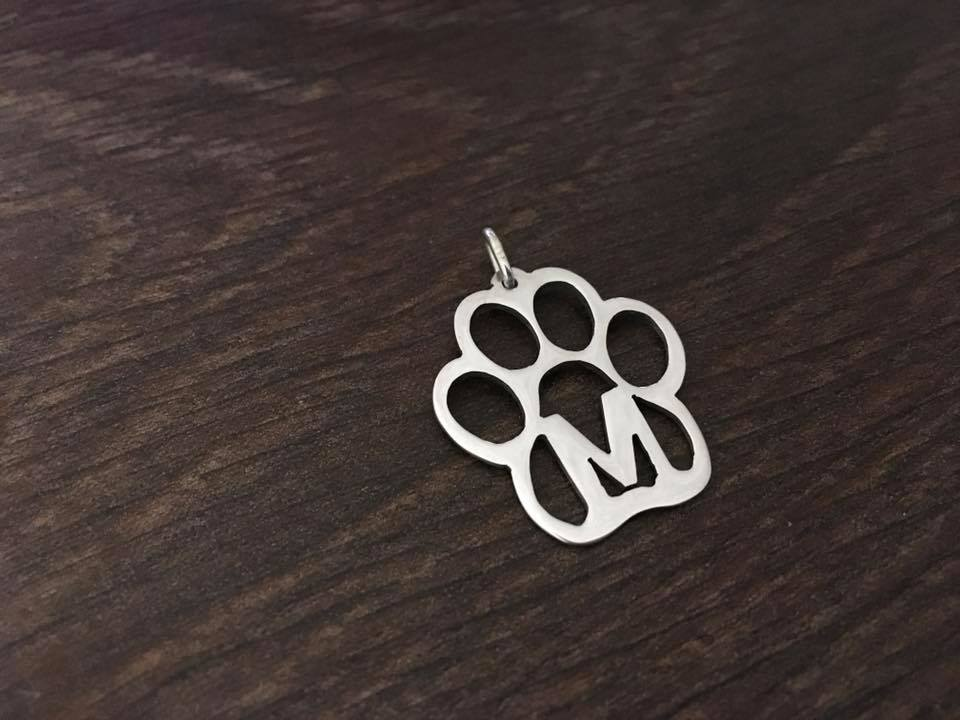 paw with any letter pendant sterling silver handmade by saw piercing