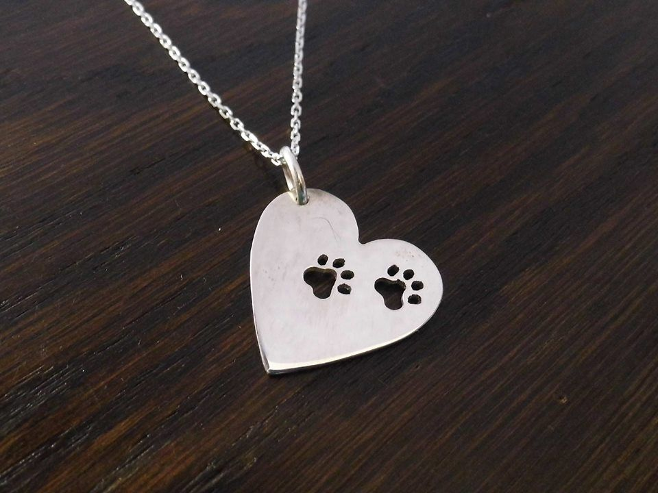paws on your heart pendant sterling silver handmade by saw piercing