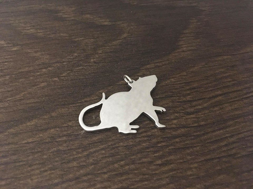 Rat Charm silhouette solid sterling silver Handmade in the Uk