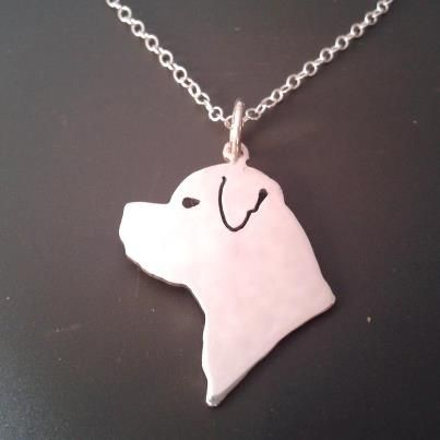 rottweiler dog head pendant sterling silver handmade by saw piercing