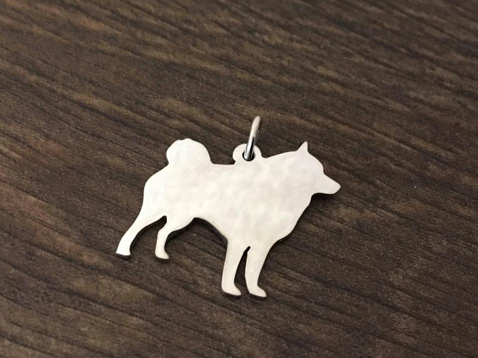 Schipperke natural Charm silhouette solid sterling silver Handmade in the Uk