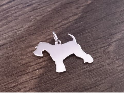 Schnauzer Charm solid sterling silver Handmade in the Uk