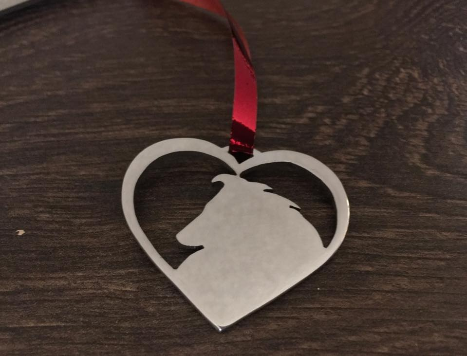 Sheltie in your heart christmas decoration in  brass copper or aluminium
