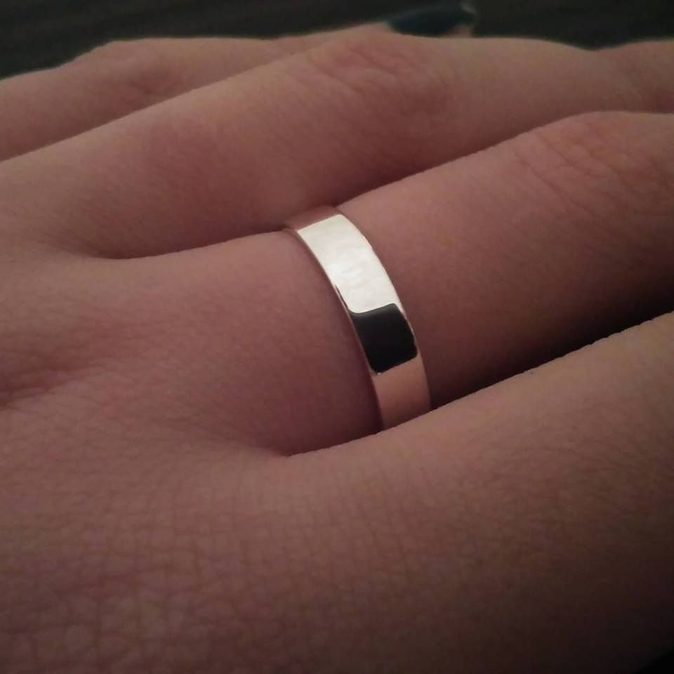 Solid Sterling Silver 925 Flat Shape 4mm Plain Wedding Ring Band