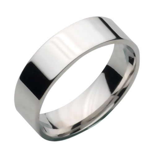 Solid Sterling Silver 925 Flat Shape 6mm Plain Wedding Ring Band