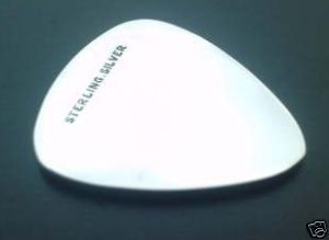 sterling silver Fender type  plectrum pendant 0.7mm thick